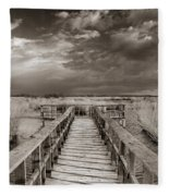 Stormy Weather At The Lake Vintage Fleece Blanket