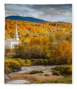 Stowe Church At Sunset Fleece Blanket