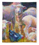 Stranger At The Well - Spring Lambs Sheep And Hen Fleece Blanket