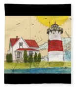 Stratford Pt Lighthouse Ct Nautical Chart Map Art Fleece Blanket
