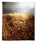 Straw Bale In Old Barn Fleece Blanket