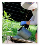 Straw Hat Gardener Fleece Blanket