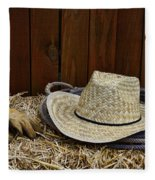 Straw Hat  On  Hay Fleece Blanket