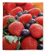 Strawberries Blueberries Mangoes - Fruit - Heart Health Fleece Blanket
