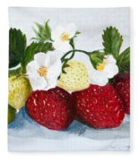 Strawberries With Blossoms Fleece Blanket