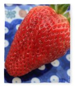 Strawberry On Blue Plate Fleece Blanket
