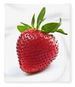 Strawberry On White Background Fleece Blanket
