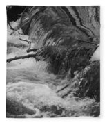Stream Cascades Over Small Dam Fleece Blanket