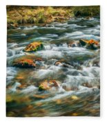 Stream Fall Colors Great Smoky Mountains Painted  Fleece Blanket