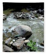 Stream Water Foams And Rushes Past Boulders Fleece Blanket