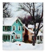 Street After Snow Fleece Blanket