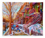 Street Hockey Game In Montreal Winter Scene With Winding Staircases Painting By Carole Spandau Fleece Blanket