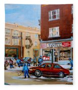 Street Hockey On Monkland Avenue Paintings Of Montreal City Scenes Fleece Blanket