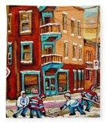 Street Hockey Practice Wilensky's Diner Montreal Winter Street Scenes Paintings Carole Spandau Fleece Blanket