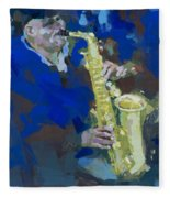 Street Jazzman Near Park  Fleece Blanket