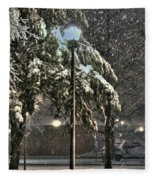 Street Lamp In The Snow Fleece Blanket
