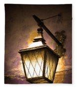 Street Lamp Shining Fleece Blanket