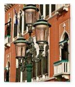 Street Lamps Of Venice Fleece Blanket