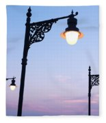Street Lamps Over Sunset Sky Background Fleece Blanket