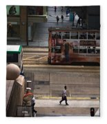 Street Life In Hong Kong Fleece Blanket