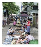 Street Market In Yangon Myanmar Fleece Blanket