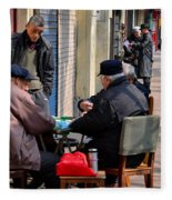 Street Scene With Mahjong Game Shanghai China Fleece Blanket