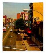 Street With Bus Stop Fleece Blanket