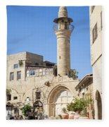 Street With Minaret In Tel Aviv Israel Fleece Blanket