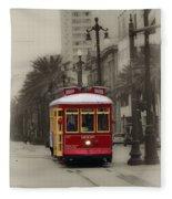Streetcar On Canal Street - New Orleans Fleece Blanket