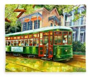 Streetcar On St.charles Avenue Fleece Blanket