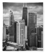 Streeterville From Above Black And White Fleece Blanket