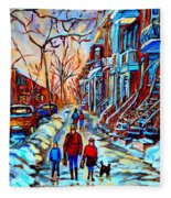 Streets Of Montreal Fleece Blanket