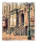 Streets Of Old New York City Watercolor Fleece Blanket