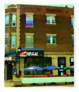 Streets Of Pointe St Charles Centre And Charlevoix Summer La Chic Regal Pub Scenes Carole Spandau Fleece Blanket