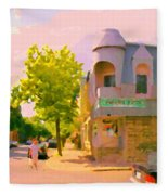Streets Of Pointe St Charles Summer Scene Connies Pizza Rue Charlevoix Et Grand Trunk Carole Spandau Fleece Blanket