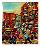 Streets Of Verdun Paintings He Shoots He Scores Our Hockey Town Forever Montreal City Scenes  Fleece Blanket