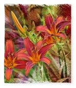 Striking Daylilies - Digital Art Fleece Blanket