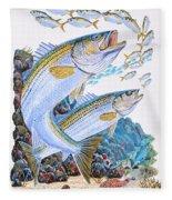 Striped Bass Rocks Fleece Blanket