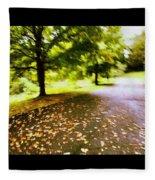 Stroll On An Autumn Lane Fleece Blanket