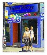 Strolling By The Blue Boy Frozen Yogurt Glacee Cafe Plateau Mont Royal City Scene Carole Spandau   Fleece Blanket