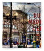 Strolling Towards The Market - Seattle Washington Fleece Blanket