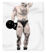 Circus Strongman Fleece Blanket