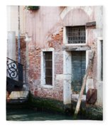 Stucco And Brick Canalside Building Venice Italy Fleece Blanket