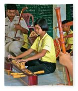 Students Playing Traditional Thai Instruments In Music Class At  Baan Konn Soong School In Sukhothai Fleece Blanket