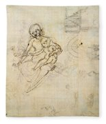Studies For A Virgin And Child And Of Heads In Profile And Machines, C.1478-80 Pencil And Ink Fleece Blanket