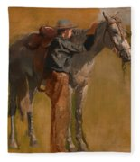 Study For Cowboys In The Badlands Fleece Blanket