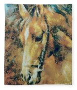 Study Of A Horse's Head Fleece Blanket