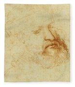 Study Of A Male Head Fleece Blanket