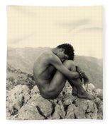 Study Of A Male Nude On A Rock In Taormina Sicily Fleece Blanket