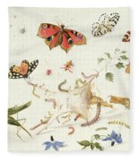 Study Of Insects And Flowers Fleece Blanket